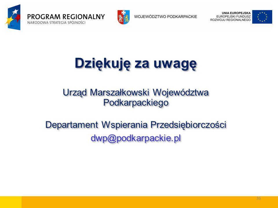 36 Dziękuję za uwagę Urząd Marszałkowski Województwa Podkarpackiego Departament Wspierania Przedsiębiorczości dwp@podkarpackie.pl Dziękuję za uwagę Ur