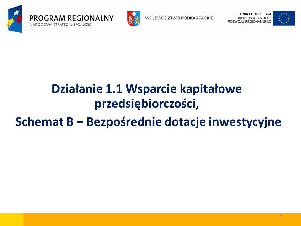 6 Działanie 1.1 Wsparcie kapitałowe przedsiębiorczości, Schemat B – Bezpośrednie dotacje inwestycyjne