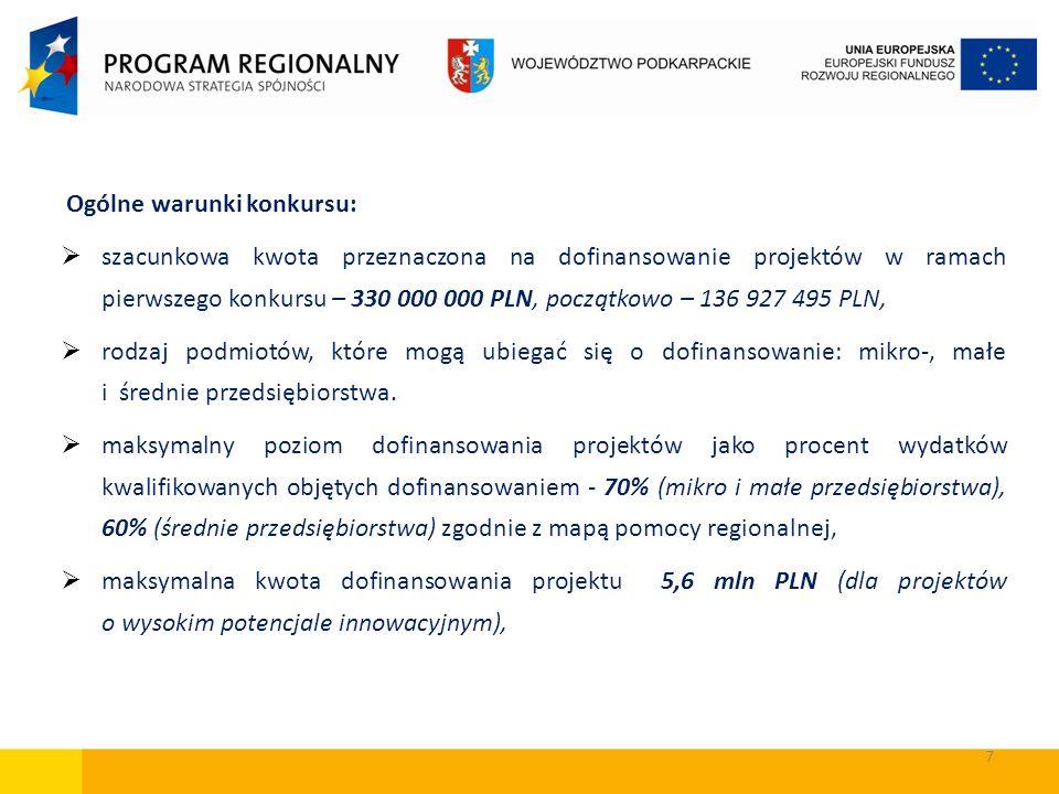 7 Ogólne warunki konkursu: szacunkowa kwota przeznaczona na dofinansowanie projektów w ramach pierwszego konkursu – 330 000 000 PLN, początkowo – 136
