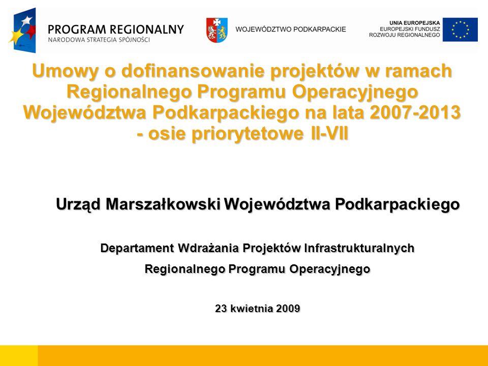 Umowy o dofinansowanie projektów w ramach Regionalnego Programu Operacyjnego Województwa Podkarpackiego na lata 2007-2013 - osie priorytetowe II-VII Urząd Marszałkowski Województwa Podkarpackiego Departament Wdrażania Projektów Infrastrukturalnych Regionalnego Programu Operacyjnego 23 kwietnia 2009