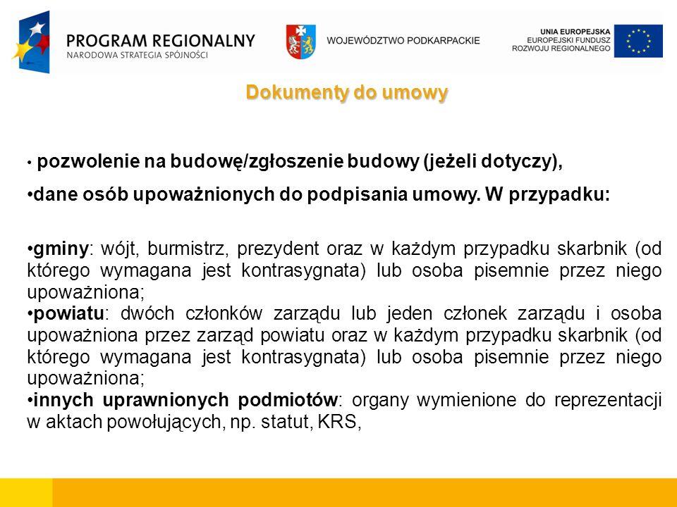 Dokumenty do umowy pozwolenie na budowę/zgłoszenie budowy (jeżeli dotyczy), dane osób upoważnionych do podpisania umowy.