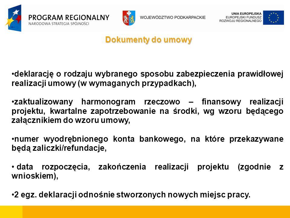 Dokumenty do umowy deklarację o rodzaju wybranego sposobu zabezpieczenia prawidłowej realizacji umowy (w wymaganych przypadkach), zaktualizowany harmonogram rzeczowo – finansowy realizacji projektu, kwartalne zapotrzebowanie na środki, wg wzoru będącego załącznikiem do wzoru umowy, numer wyodrębnionego konta bankowego, na które przekazywane będą zaliczki/refundacje, data rozpoczęcia, zakończenia realizacji projektu (zgodnie z wnioskiem), 2 egz.