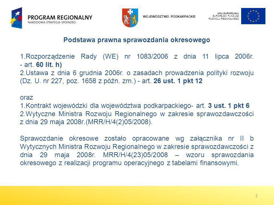 Podstawa prawna sprawozdania okresowego 1.Rozporządzenie Rady (WE) nr 1083/2006 z dnia 11 lipca 2006r. - art. 60 lit. h) 2.Ustawa z dnia 6 grudnia 200