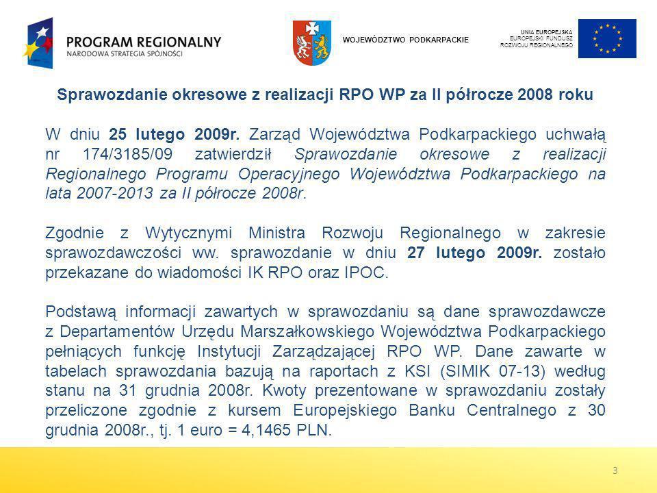 Sprawozdanie okresowe z realizacji RPO WP za II półrocze 2008 roku W dniu 25 lutego 2009r. Zarząd Województwa Podkarpackiego uchwałą nr 174/3185/09 za