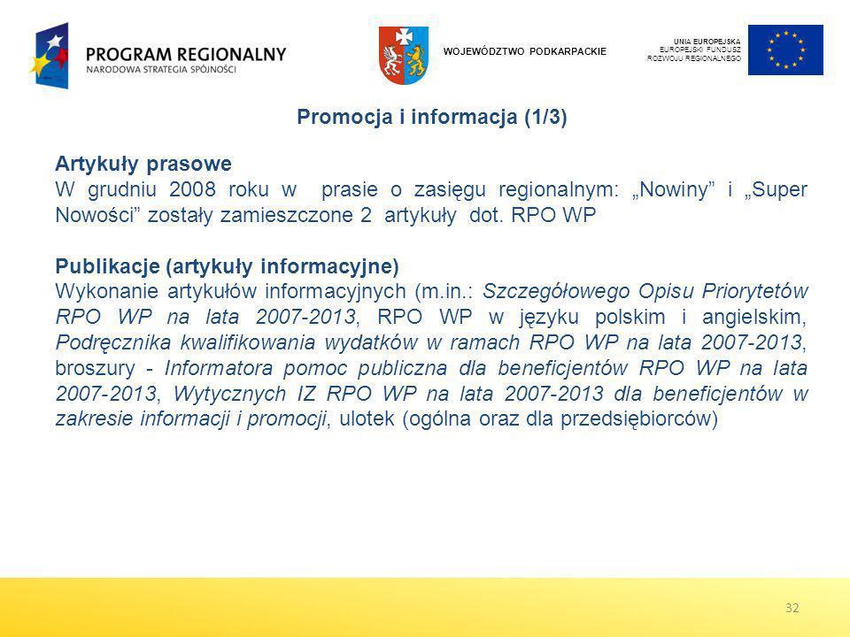 UNIA EUROPEJSKA EUROPEJSKI FUNDUSZ ROZWOJU REGIONALNEGO WOJEWÓDZTWO PODKARPACKIE Promocja i informacja (1/3) Artykuły prasowe W grudniu 2008 roku w pr