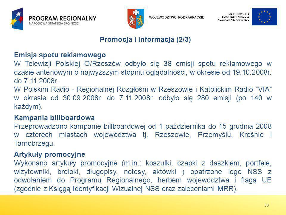 UNIA EUROPEJSKA EUROPEJSKI FUNDUSZ ROZWOJU REGIONALNEGO WOJEWÓDZTWO PODKARPACKIE Emisja spotu reklamowego W Telewizji Polskiej O/Rzeszów odbyło się 38