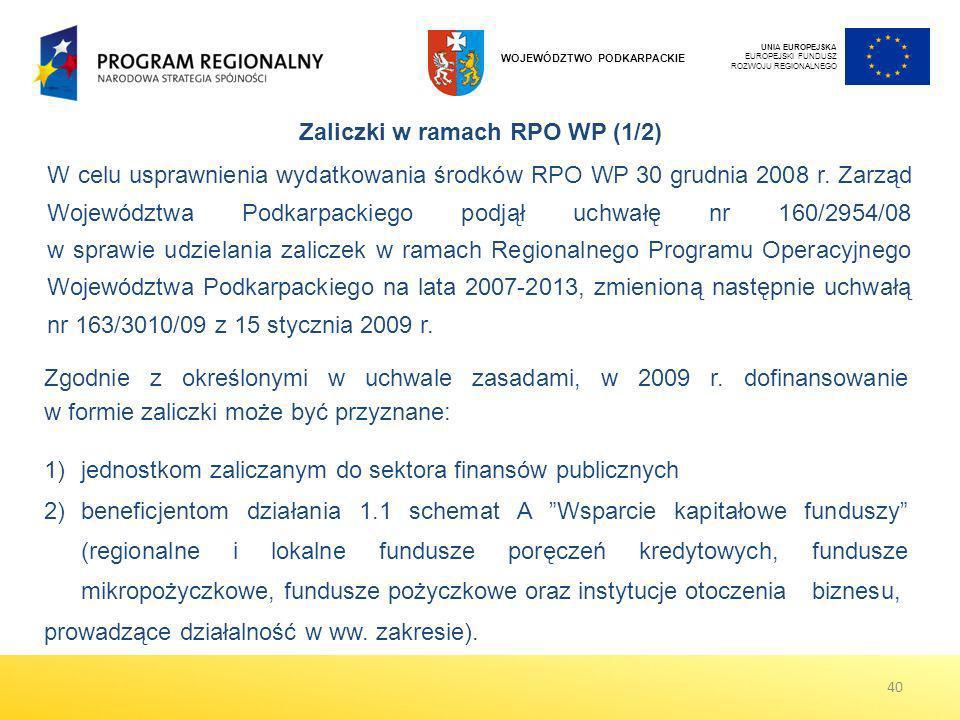 W celu usprawnienia wydatkowania środków RPO WP 30 grudnia 2008 r. Zarząd Województwa Podkarpackiego podjął uchwałę nr 160/2954/08 w sprawie udzielani