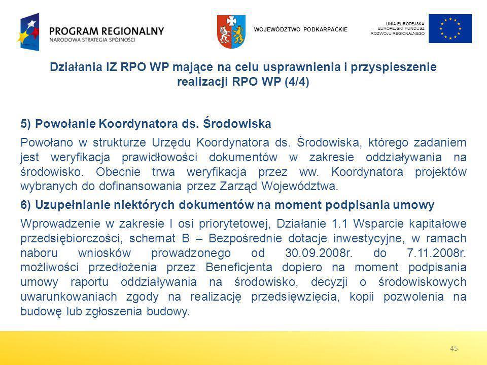 UNIA EUROPEJSKA EUROPEJSKI FUNDUSZ ROZWOJU REGIONALNEGO WOJEWÓDZTWO PODKARPACKIE 5)Powołanie Koordynatora ds. Środowiska Powołano w strukturze Urzędu
