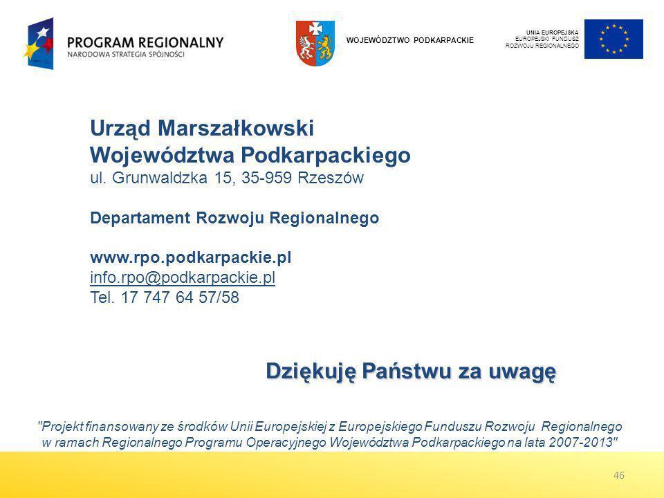 Urząd Marszałkowski Województwa Podkarpackiego ul. Grunwaldzka 15, 35-959 Rzeszów Departament Rozwoju Regionalnego www.rpo.podkarpackie.pl info.rpo@po
