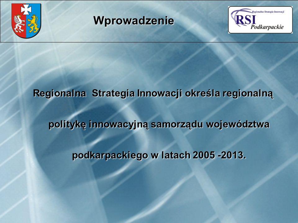 Regionalna Strategia Innowacji określa regionalną politykę innowacyjną samorządu województwa podkarpackiego w latach 2005 -2013.