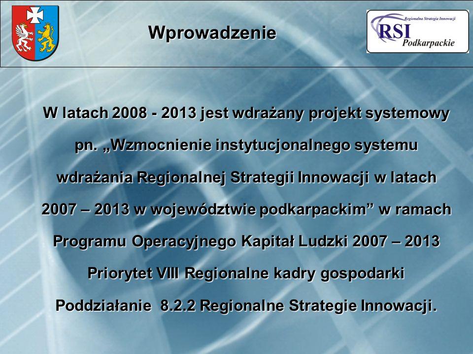 Cel projektu: Zbudowanie w województwie podkarpackim sieci współpracy między przedsiębiorstwami a sektorem nauki w zakresie wdrażanie innowacji Wprowadzenie