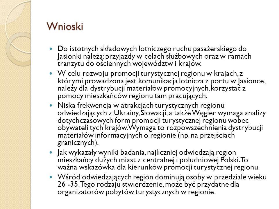 Wnioski Do istotnych składowych lotniczego ruchu pasażerskiego do Jasionki należą: przyjazdy w celach służbowych oraz w ramach tranzytu do ościennych