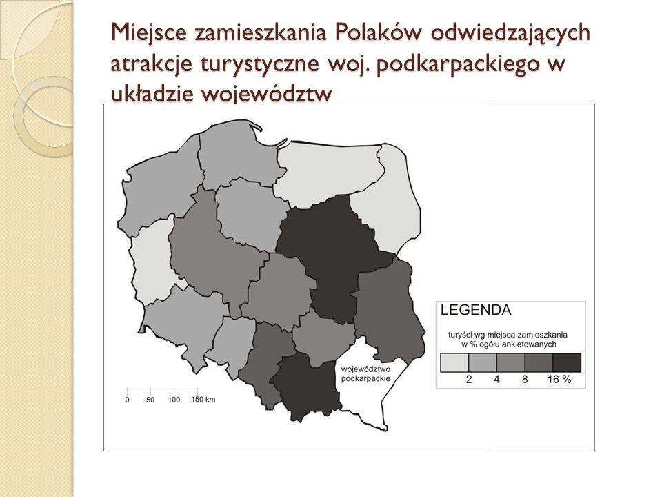 Miejsce zamieszkania Polaków odwiedzających atrakcje turystyczne woj. podkarpackiego w układzie województw