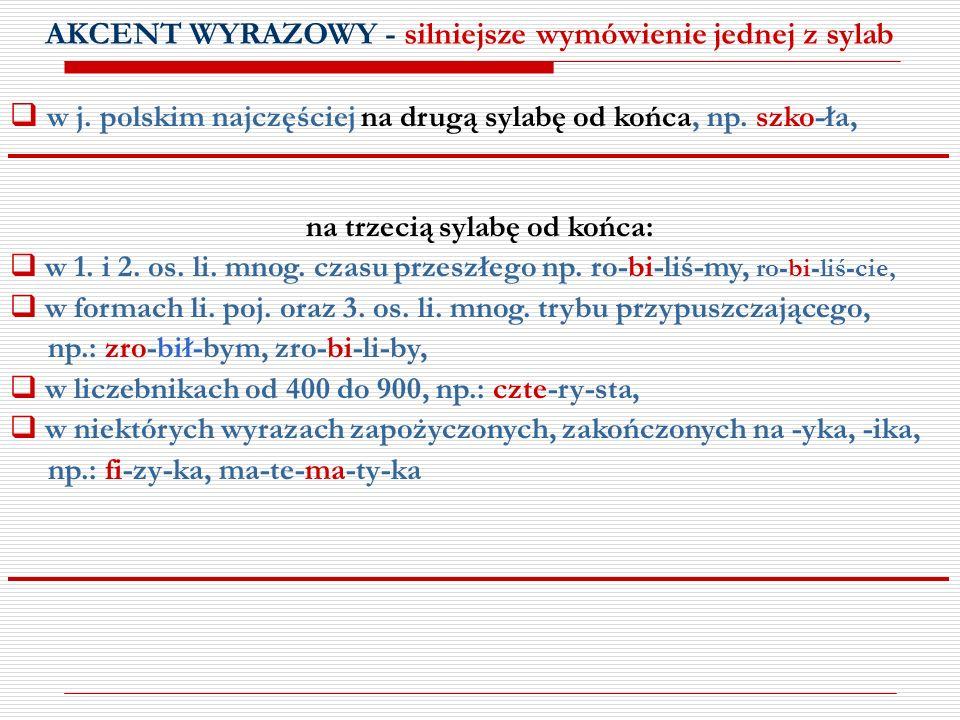 AKCENT WYRAZOWY - silniejsze wymówienie jednej z sylab w j. polskim najczęściej na drugą sylabę od końca, np. szko-ła, na trzecią sylabę od końca: w 1