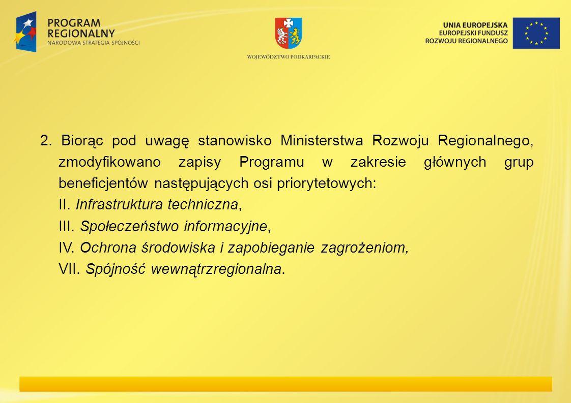 2. Biorąc pod uwagę stanowisko Ministerstwa Rozwoju Regionalnego, zmodyfikowano zapisy Programu w zakresie głównych grup beneficjentów następujących o