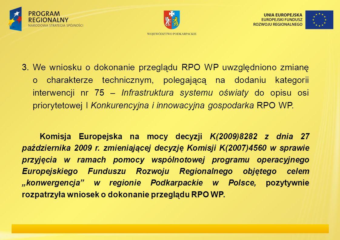 3. We wniosku o dokonanie przeglądu RPO WP uwzględniono zmianę o charakterze technicznym, polegającą na dodaniu kategorii interwencji nr 75 – Infrastr