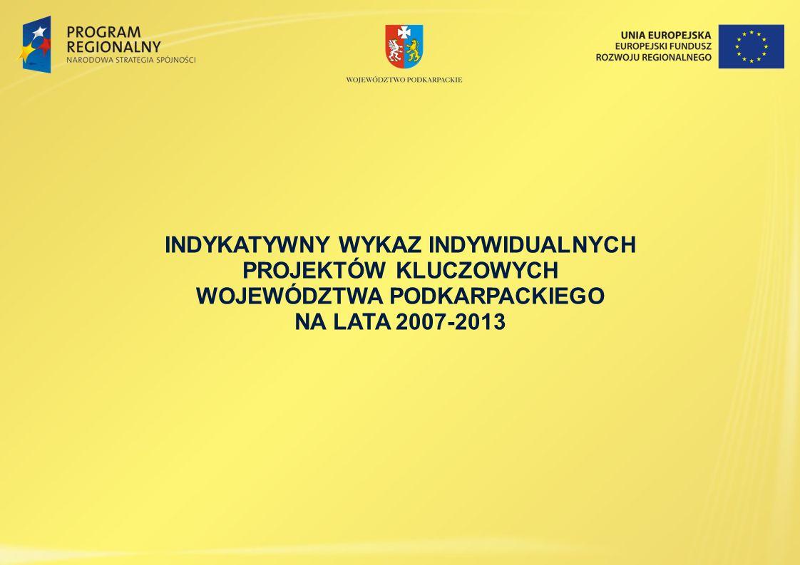 INDYKATYWNY WYKAZ INDYWIDUALNYCH PROJEKTÓW KLUCZOWYCH WOJEWÓDZTWA PODKARPACKIEGO NA LATA 2007-2013