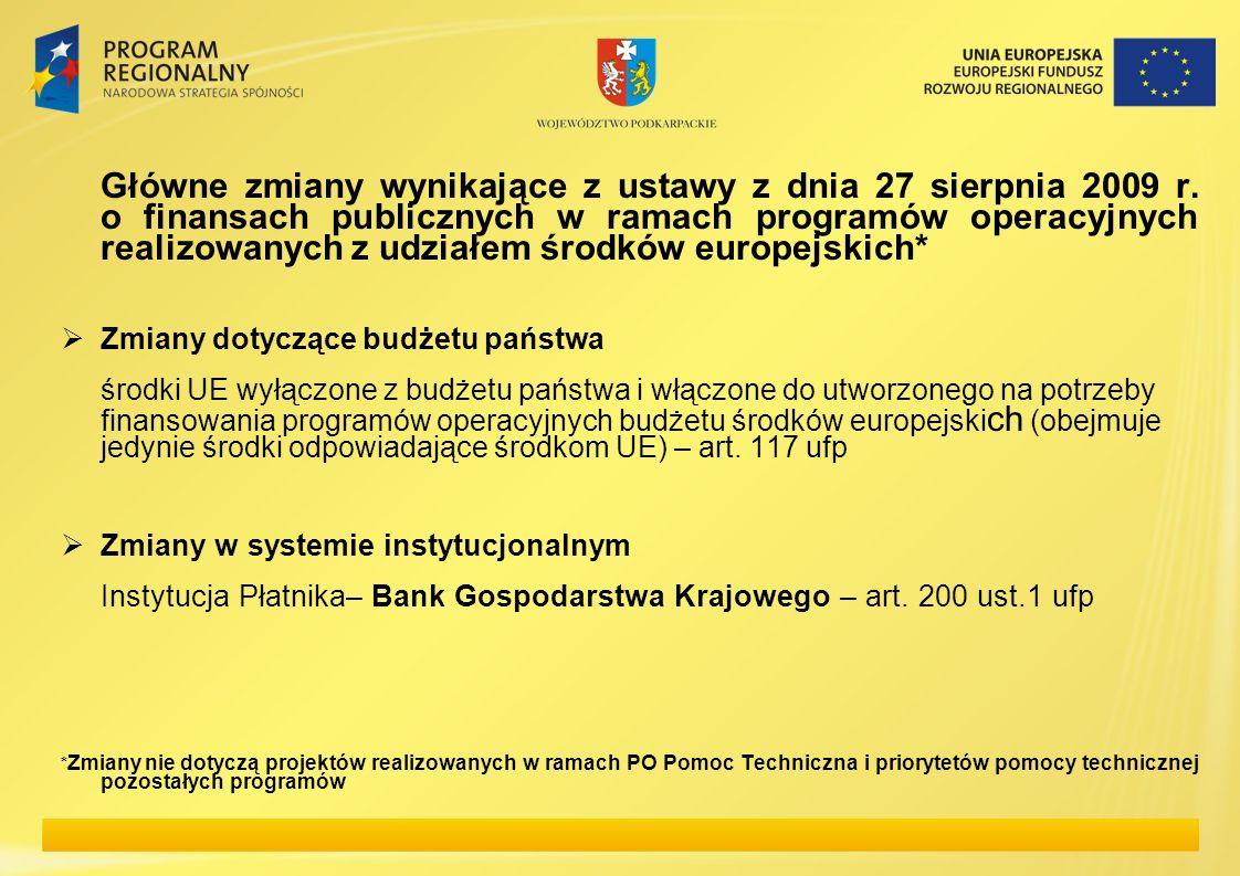 Główne zmiany wynikające z ustawy z dnia 27 sierpnia 2009 r. o finansach publicznych w ramach programów operacyjnych realizowanych z udziałem środków