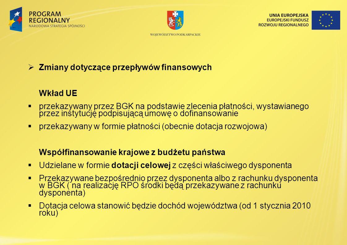 Zmiany dotyczące przepływów finansowych Wkład UE przekazywany przez BGK na podstawie zlecenia płatności, wystawianego przez instytucję podpisującą umo