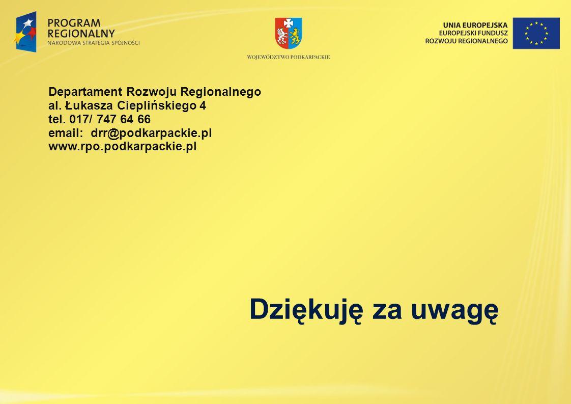 Dziękuję za uwagę Departament Rozwoju Regionalnego al. Łukasza Cieplińskiego 4 tel. 017/ 747 64 66 email: drr@podkarpackie.pl www.rpo.podkarpackie.pl