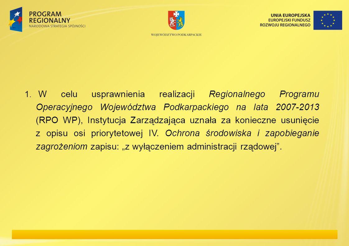 1. W celu usprawnienia realizacji Regionalnego Programu Operacyjnego Województwa Podkarpackiego na lata 2007-2013 (RPO WP), Instytucja Zarządzająca uz