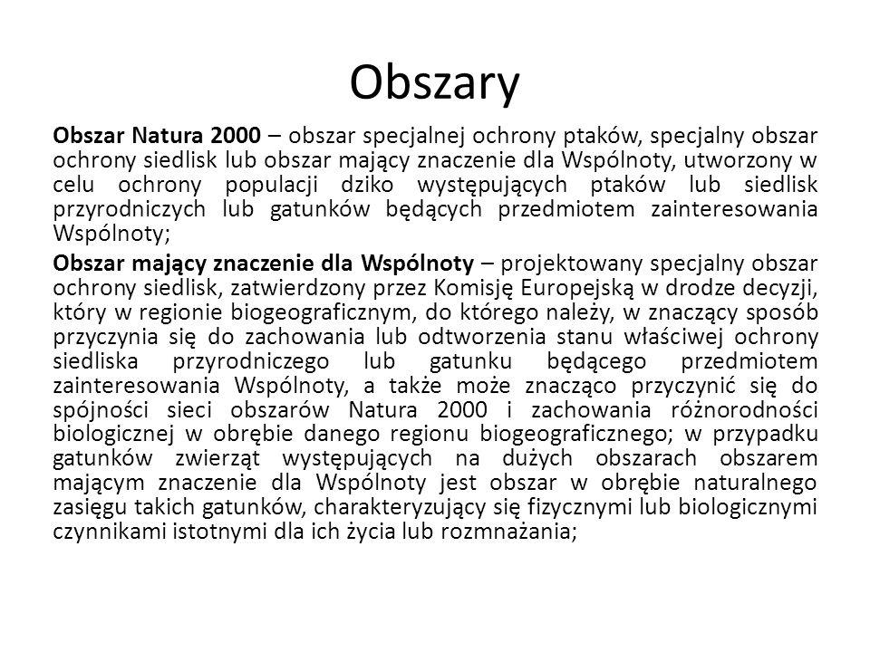 Obszary Natura 2000 (art.26) Minister właściwy do spraw środowiska określi, w drodze rozporządzenia, typy siedlisk przyrodniczych oraz gatunki będące przedmiotem zainteresowania Wspólnoty, w tym siedliska przyrodnicze i gatunki o znaczeniu priorytetowym, oraz wymagające ochrony w formie wyznaczenia obszarów Natura 2000, a także kryteria wyboru obszarów kwalifikujących się do uznania za obszary mające znaczenie dla Wspólnoty i wyznaczenia jako specjalne obszary ochrony siedlisk oraz obszarów kwalifikujących się do wyznaczenia jako obszary specjalnej ochrony ptaków, mając na uwadze zachowanie poszczególnych cennych lub zagrożonych składników różnorodności biologicznej, na podstawie których jest wyznaczana sieć obszarów Natura 2000.;