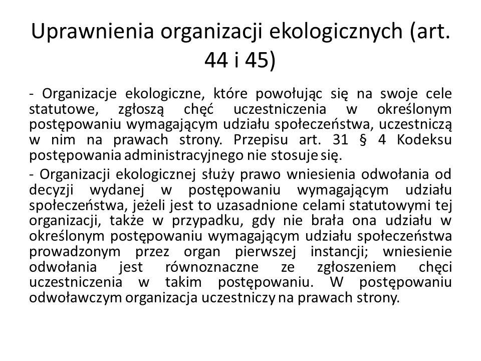 Uprawnienia organizacji ekologicznych (art.