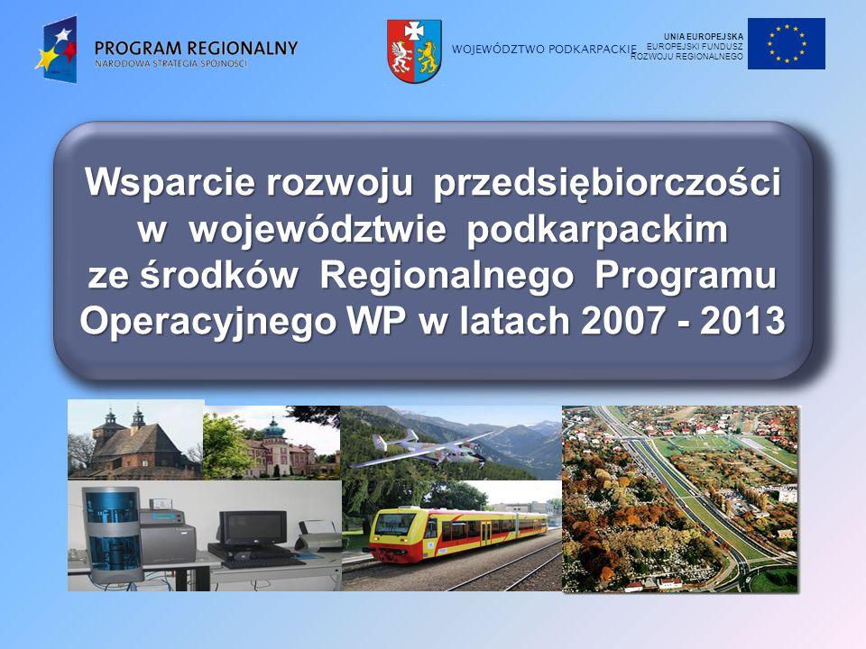 WOJEWÓDZTWO PODKARPACKIE Wsparcie rozwoju przedsiębiorczości w województwie podkarpackim ze środków Regionalnego Programu Operacyjnego WP w latach 2007 - 2013 UNIA EUROPEJSKA EUROPEJSKI FUNDUSZ ROZWOJU REGIONALNEGO