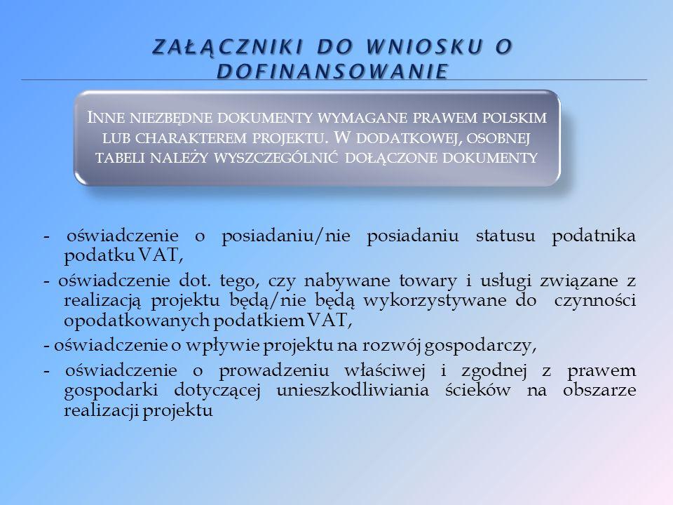 - oświadczenie o posiadaniu/nie posiadaniu statusu podatnika podatku VAT, - oświadczenie dot.