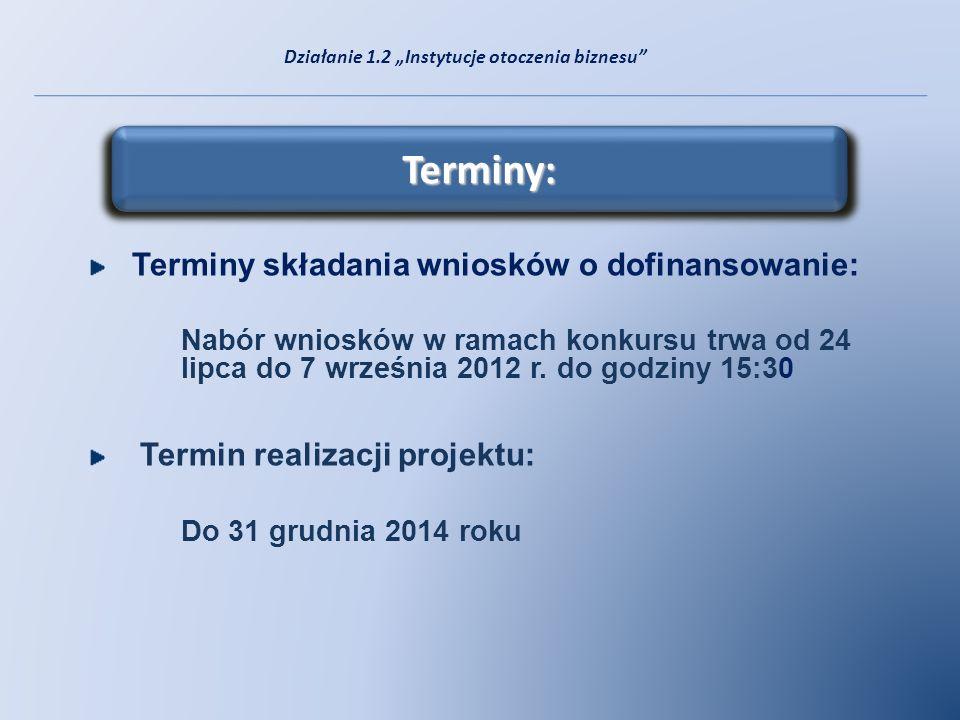 Terminy: Terminy składania wniosków o dofinansowanie: Nabór wniosków w ramach konkursu trwa od 24 lipca do 7 września 2012 r. do godziny 15:30 Termin