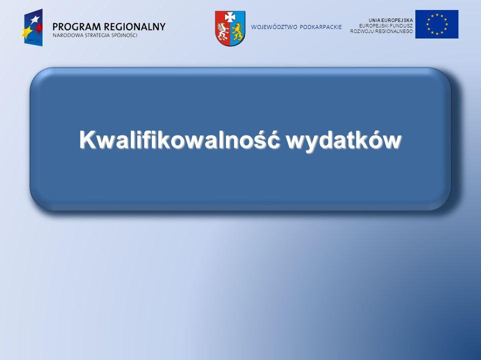 WOJEWÓDZTWO PODKARPACKIE Kwalifikowalność wydatków UNIA EUROPEJSKA EUROPEJSKI FUNDUSZ ROZWOJU REGIONALNEGO