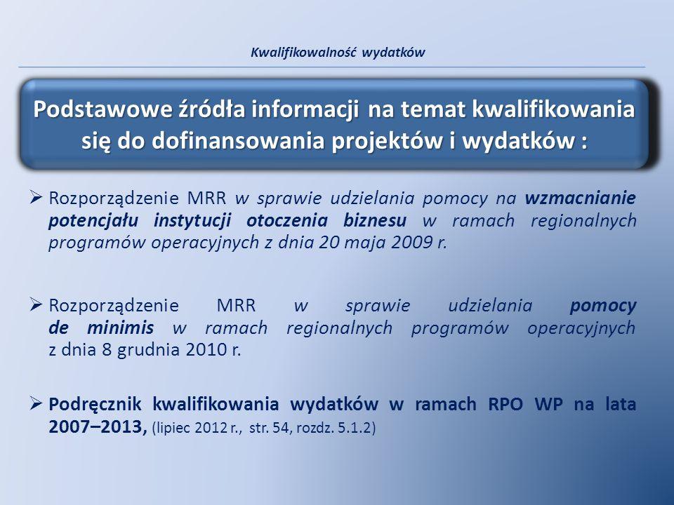Kwalifikowalność wydatków Rozporządzenie MRR w sprawie udzielania pomocy na wzmacnianie potencjału instytucji otoczenia biznesu w ramach regionalnych
