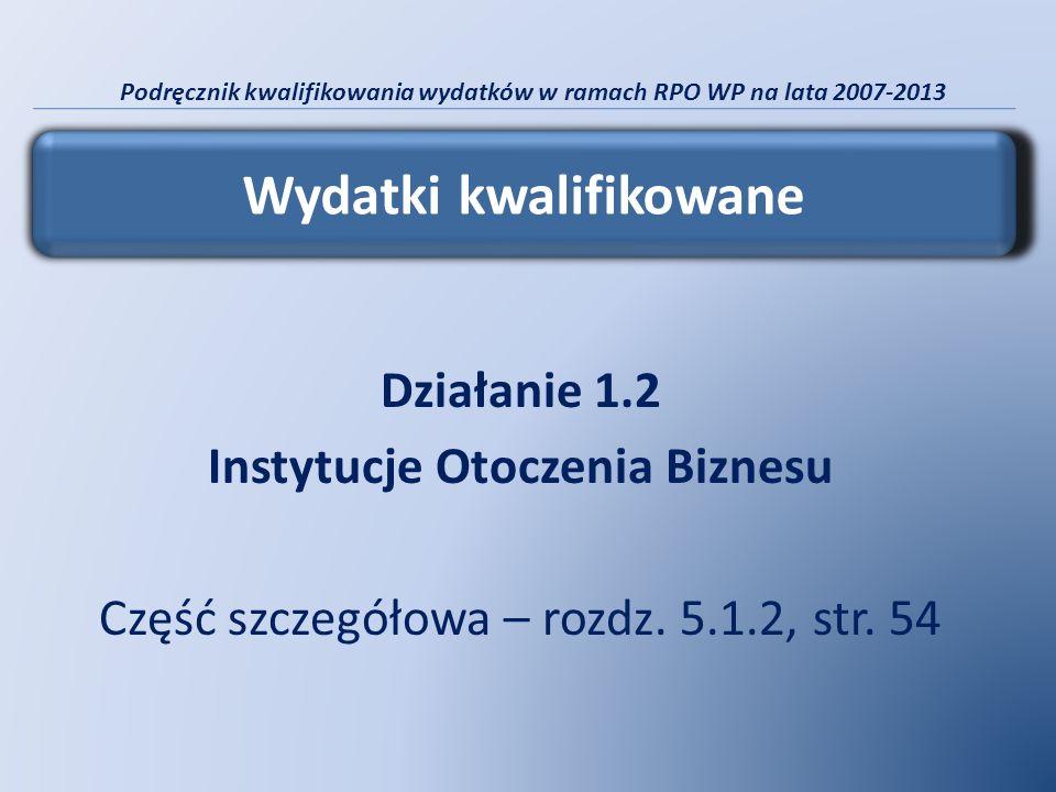 Podręcznik kwalifikowania wydatków w ramach RPO WP na lata 2007-2013 Działanie 1.2 Instytucje Otoczenia Biznesu Część szczegółowa – rozdz. 5.1.2, str.
