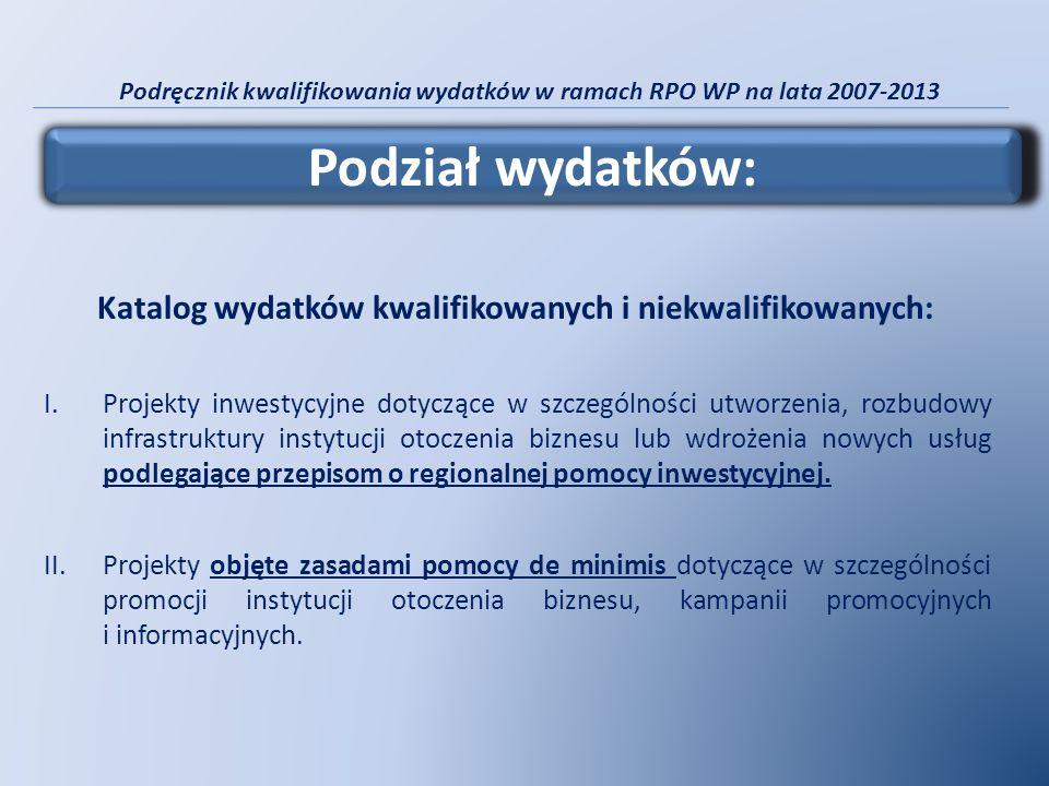 Podręcznik kwalifikowania wydatków w ramach RPO WP na lata 2007-2013 Katalog wydatków kwalifikowanych i niekwalifikowanych: I.Projekty inwestycyjne do