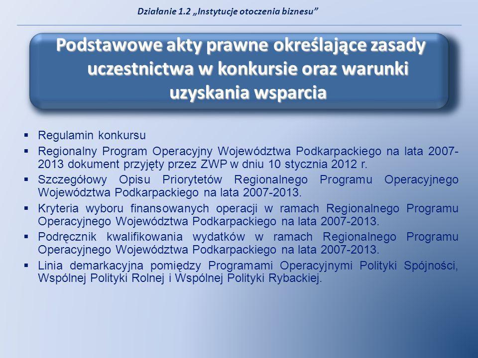Regulamin konkursu Regionalny Program Operacyjny Województwa Podkarpackiego na lata 2007- 2013 dokument przyjęty przez ZWP w dniu 10 stycznia 2012 r.