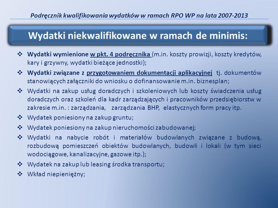 Podręcznik kwalifikowania wydatków w ramach RPO WP na lata 2007-2013 Wydatki wymienione w pkt. 4 podręcznika (m.in. koszty prowizji, koszty kredytów,