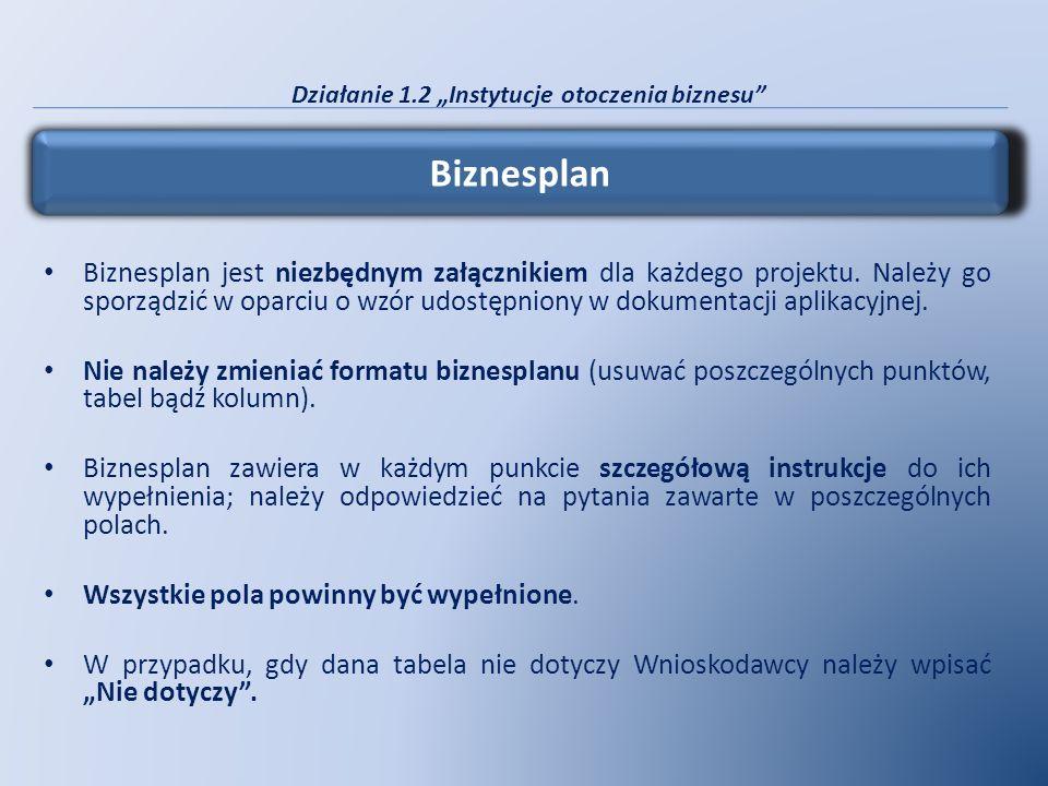 Działanie 1.2 Instytucje otoczenia biznesu Biznesplan jest niezbędnym załącznikiem dla każdego projektu. Należy go sporządzić w oparciu o wzór udostęp