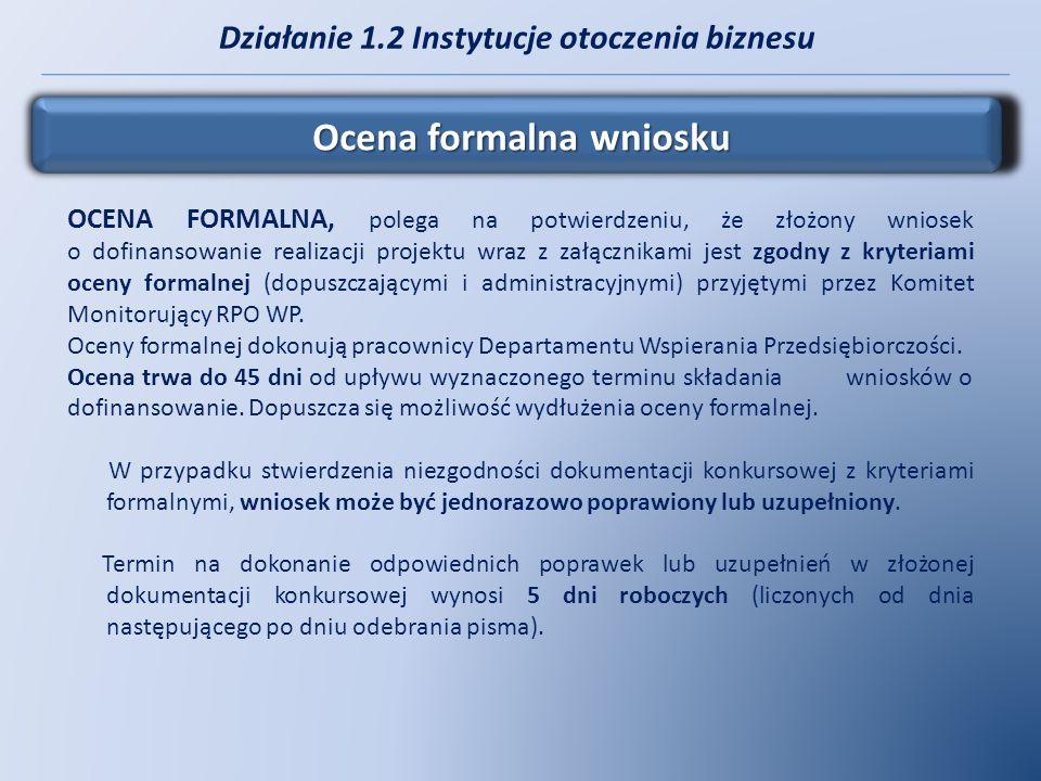 Działanie 1.2 Instytucje otoczenia biznesu Ocena formalna wniosku OCENA FORMALNA, polega na potwierdzeniu, że złożony wniosek o dofinansowanie realiza