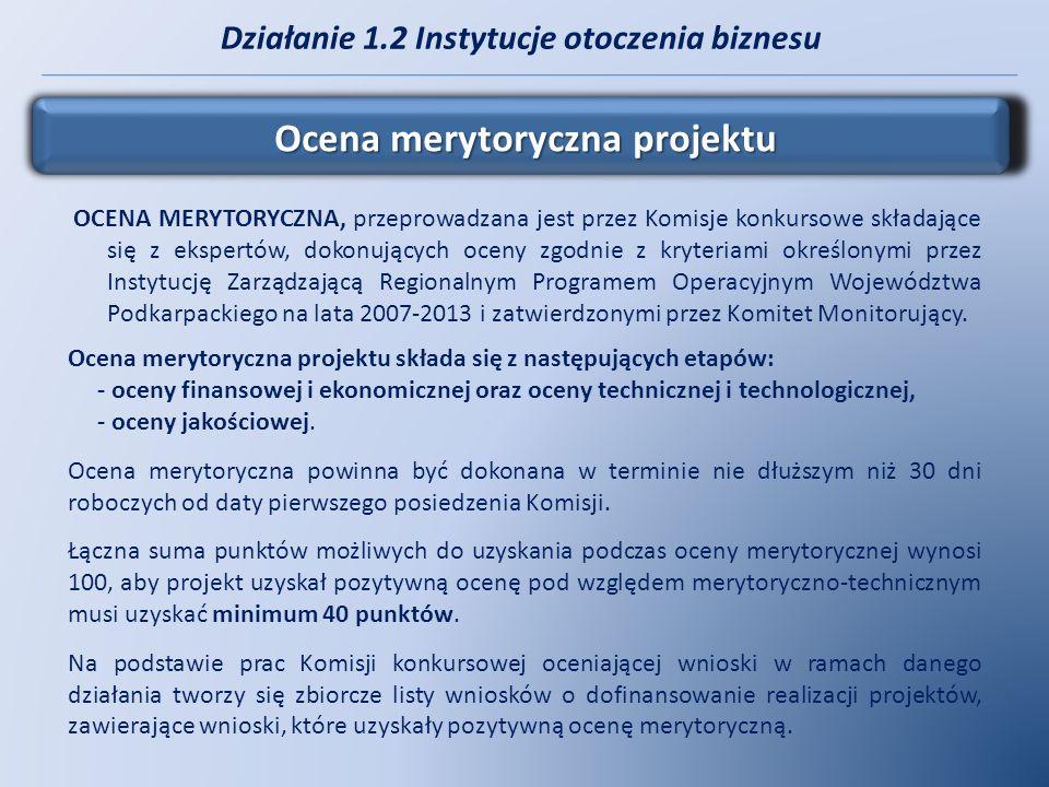 Działanie 1.2 Instytucje otoczenia biznesu Ocena merytoryczna projektu OCENA MERYTORYCZNA, przeprowadzana jest przez Komisje konkursowe składające się