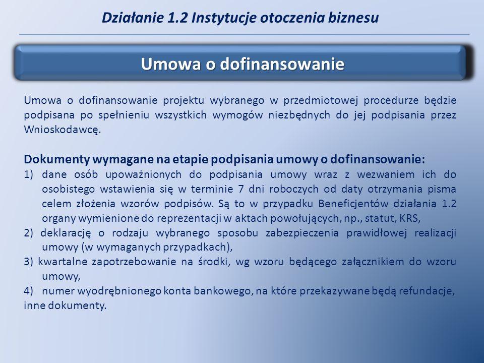 Działanie 1.2 Instytucje otoczenia biznesu Umowa o dofinansowanie Umowa o dofinansowanie projektu wybranego w przedmiotowej procedurze będzie podpisan
