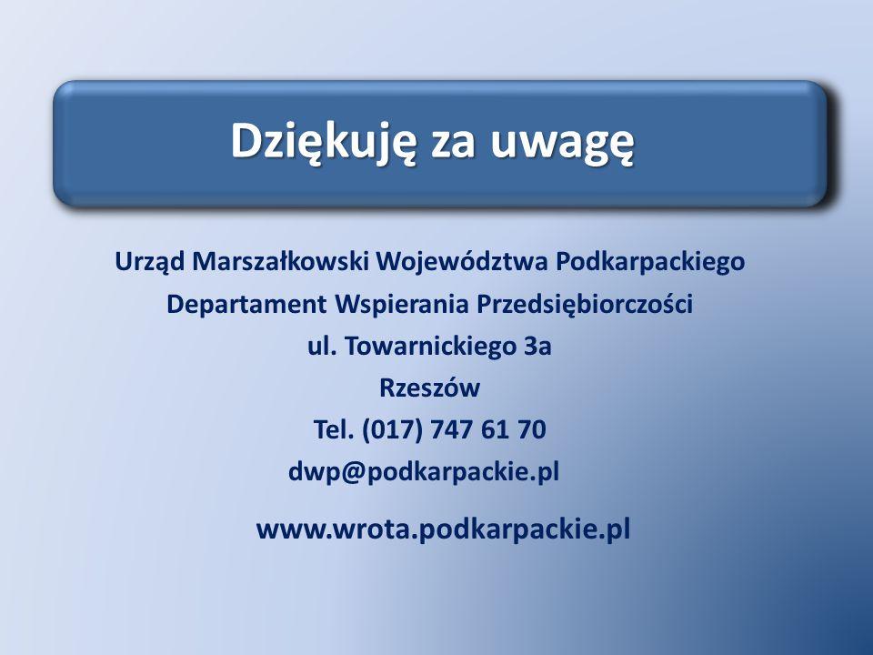 Urząd Marszałkowski Województwa Podkarpackiego Departament Wspierania Przedsiębiorczości ul. Towarnickiego 3a Rzeszów Tel. (017) 747 61 70 dwp@podkarp