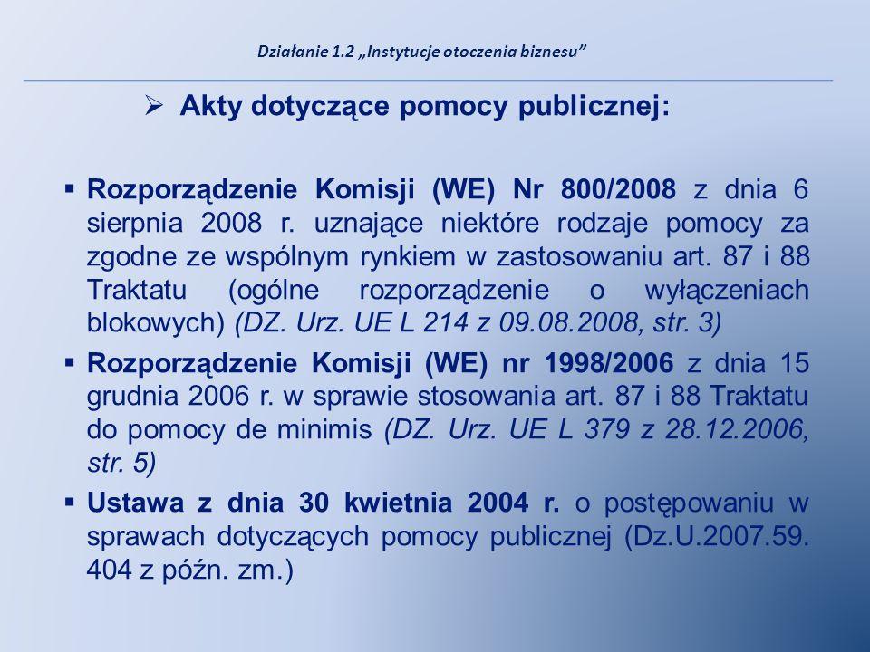 Akty dotyczące pomocy publicznej: Rozporządzenie Komisji (WE) Nr 800/2008 z dnia 6 sierpnia 2008 r. uznające niektóre rodzaje pomocy za zgodne ze wspó