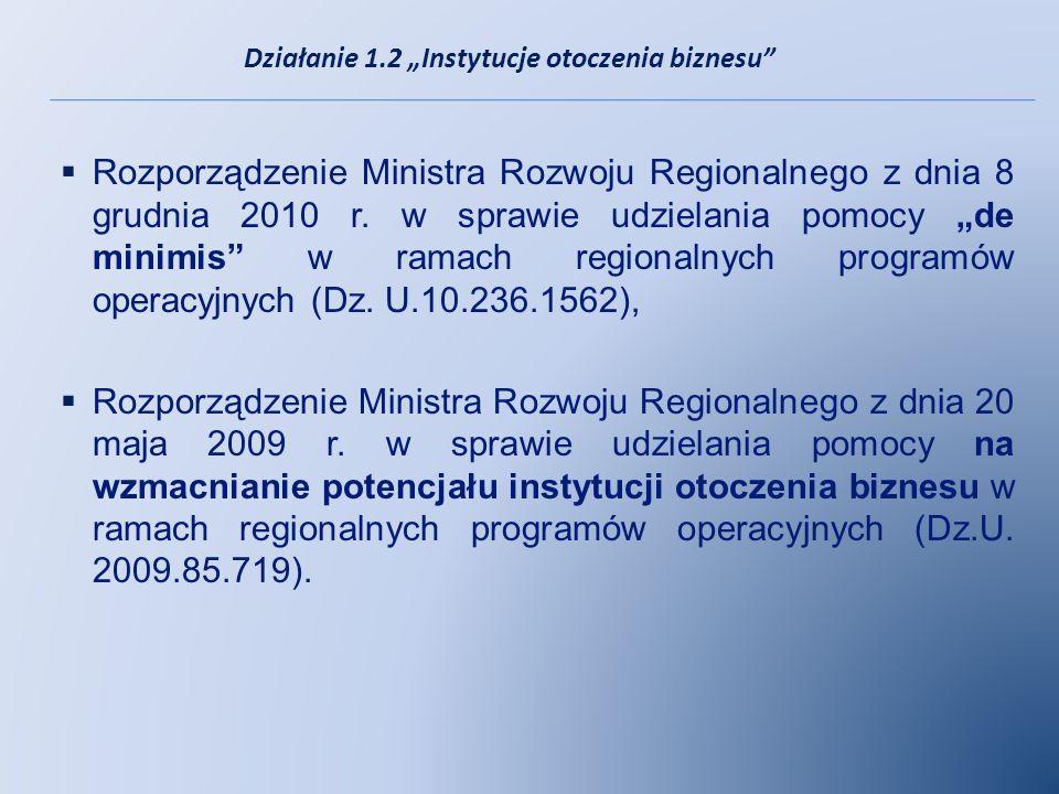 Rozporządzenie Ministra Rozwoju Regionalnego z dnia 8 grudnia 2010 r. w sprawie udzielania pomocy de minimis w ramach regionalnych programów operacyjn