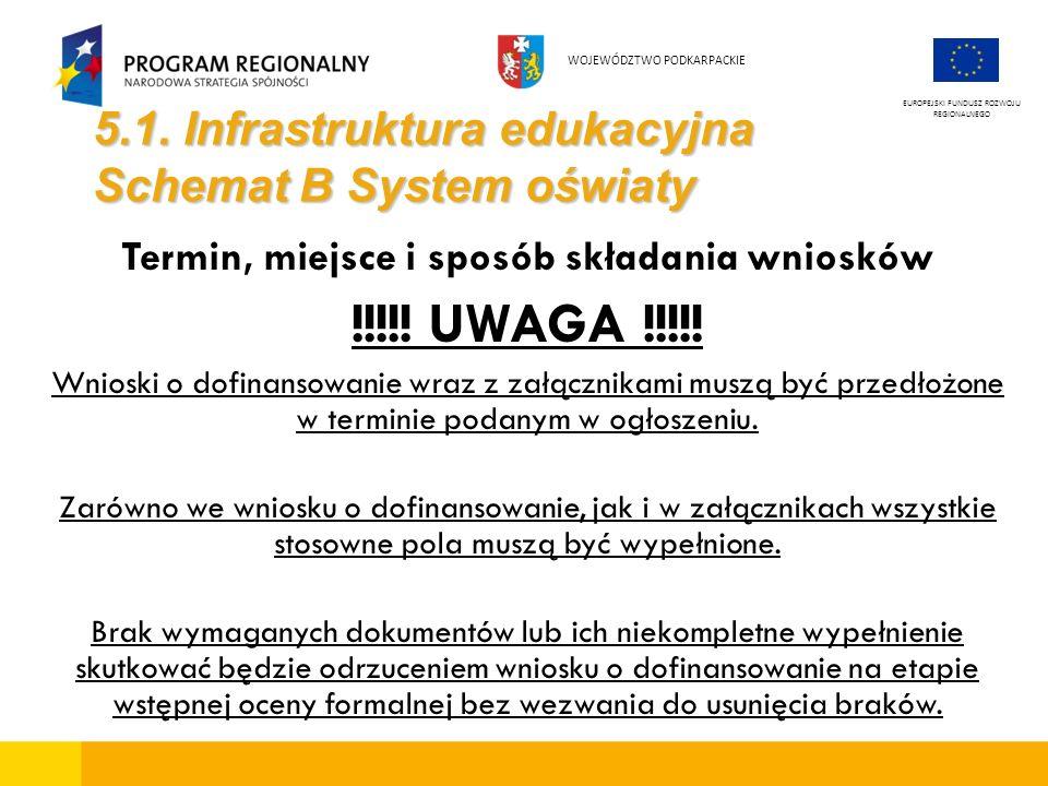 5.1. Infrastruktura edukacyjna Schemat B System oświaty Termin, miejsce i sposób składania wniosków !!!!! UWAGA !!!!! Wnioski o dofinansowanie wraz z