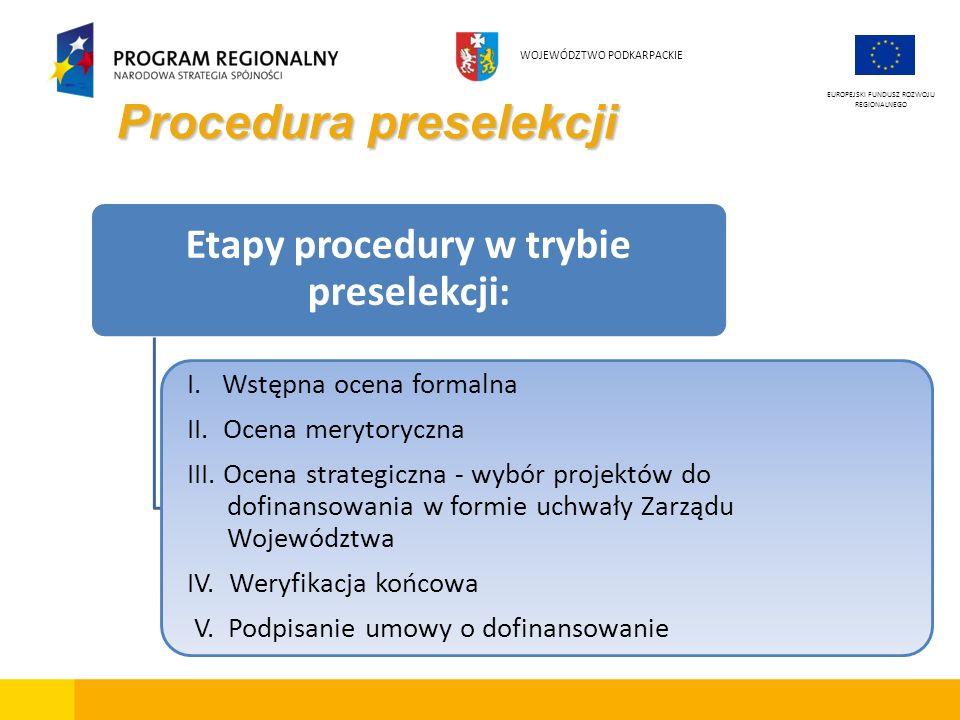Procedura preselekcji EUROPEJSKI FUNDUSZ ROZWOJU REGIONALNEGO WOJEWÓDZTWO PODKARPACKIE Etapy procedury w trybie preselekcji: I. Wstępna ocena formalna