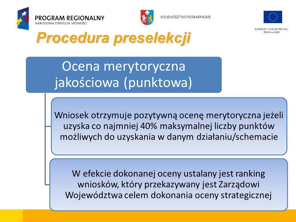 Procedura preselekcji EUROPEJSKI FUNDUSZ ROZWOJU REGIONALNEGO WOJEWÓDZTWO PODKARPACKIE Ocena merytoryczna jakościowa (punktowa) Wniosek otrzymuje pozy
