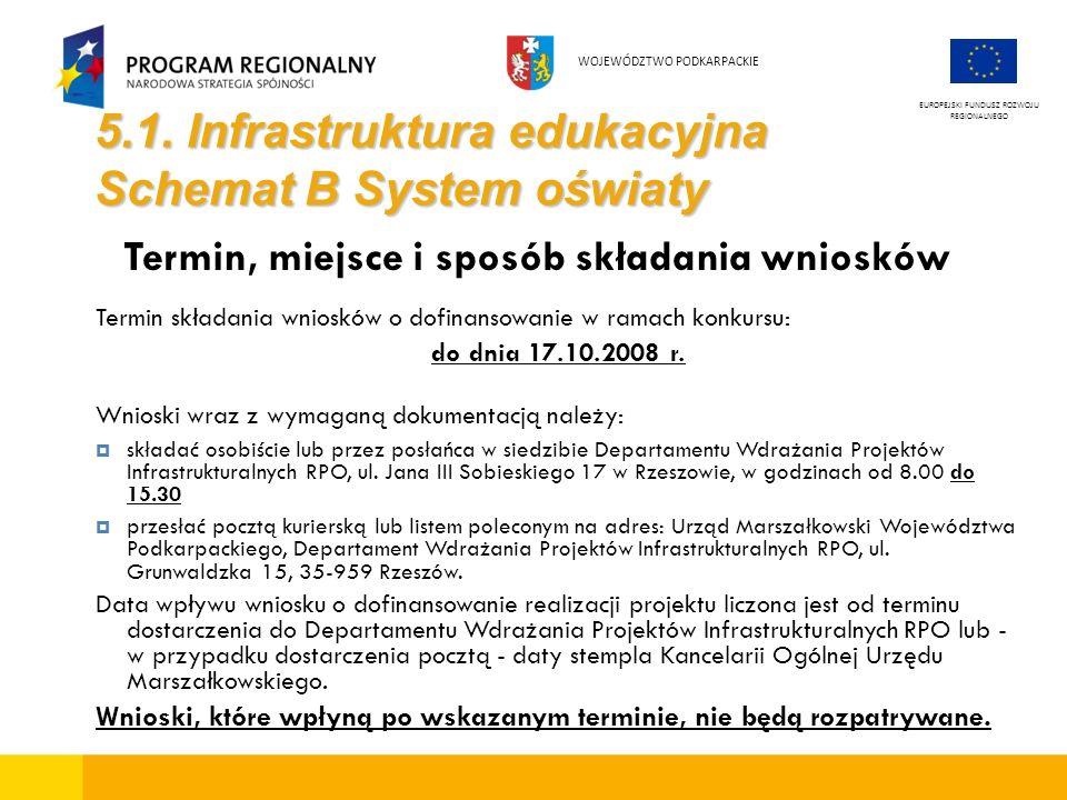 5.1. Infrastruktura edukacyjna Schemat B System oświaty Termin, miejsce i sposób składania wniosków Termin składania wniosków o dofinansowanie w ramac