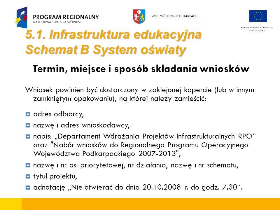 5.1. Infrastruktura edukacyjna Schemat B System oświaty Termin, miejsce i sposób składania wniosków Wniosek powinien być dostarczony w zaklejonej kope