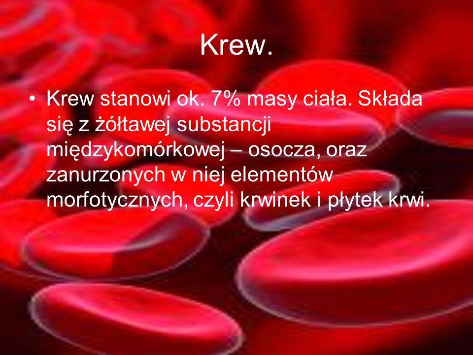 Krew. Krew stanowi ok. 7% masy ciała. Składa się z żółtawej substancji międzykomórkowej – osocza, oraz zanurzonych w niej elementów morfotycznych, czy