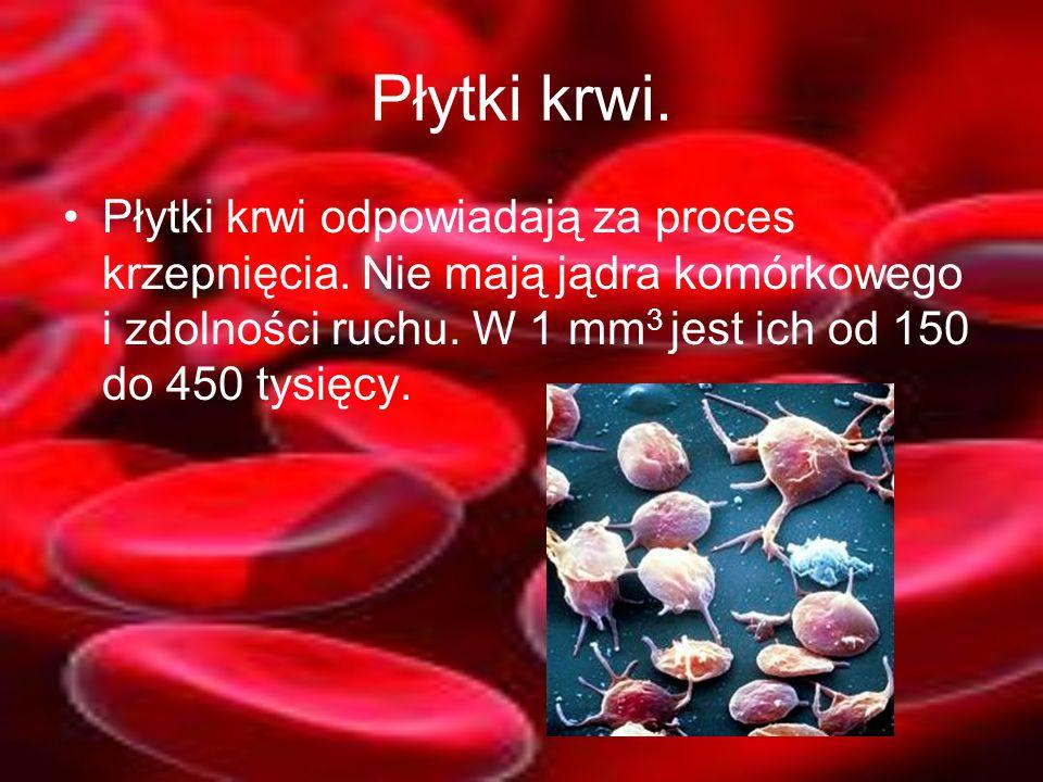 Płytki krwi. Płytki krwi odpowiadają za proces krzepnięcia. Nie mają jądra komórkowego i zdolności ruchu. W 1 mm 3 jest ich od 150 do 450 tysięcy.